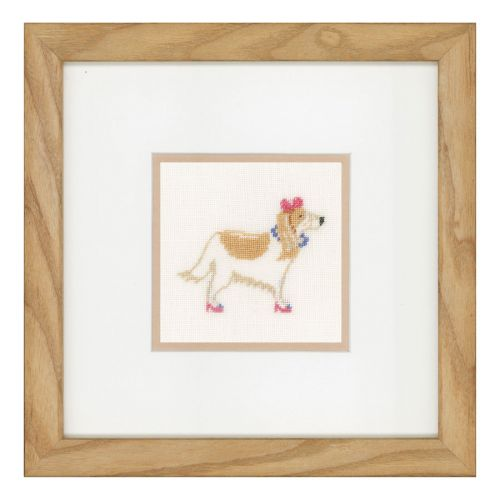Counted Cross Stitch Kit: Dog with Pink Bow (Linen)